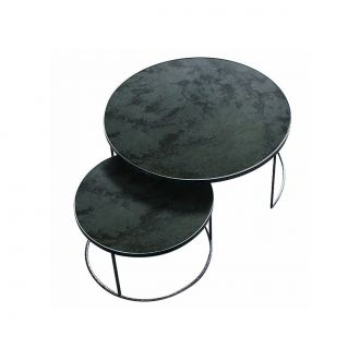 Set de deux tables Gigognes Nesting charcoal heavy aged