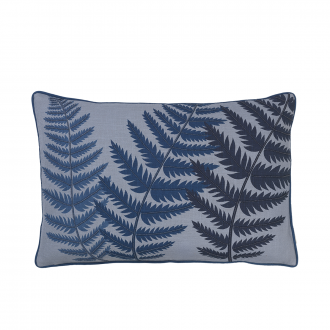 Coussin brodé Fern Leaf Blue wing