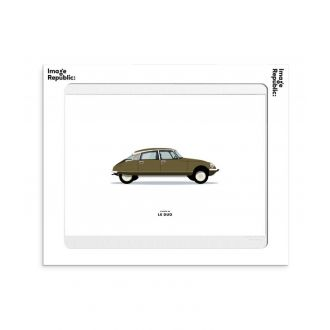 Affiche Le duo voiture citroen ds marron