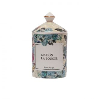 Bougie Rose Rouge - Porcelaine