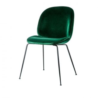 Chaise Beetle velours Vert & pieds noirs