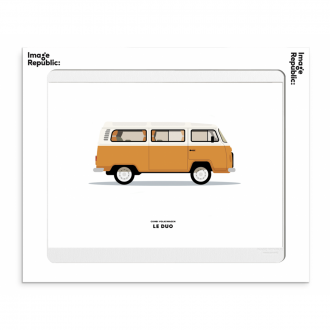 Affiche Le duo voiture volkswagen orange