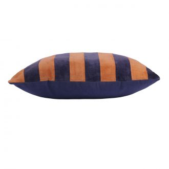 Coussin Striped Velours Bleu / Orange