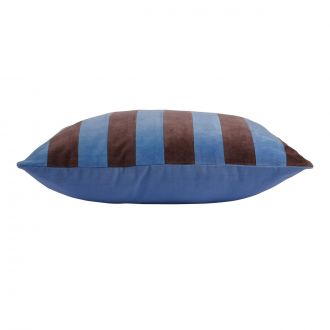 Coussin Striped Velours Bleu / Violet