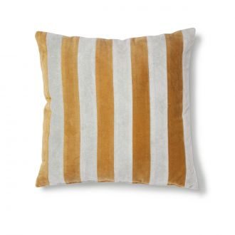 Coussin Striped Velours Gris / Doré