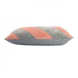 Coussin Striped Velours Gris / Nude