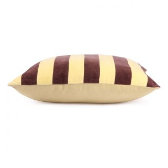 Coussin Striped Velours Jaune / Violet