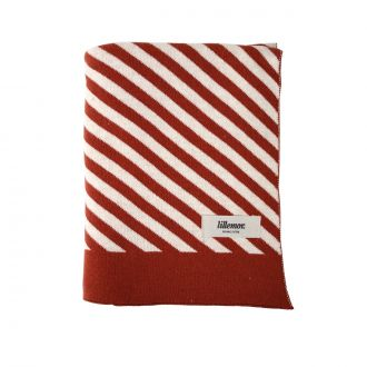 COUVERTURE COTON 80 x 100 cm STRIPES Rouge