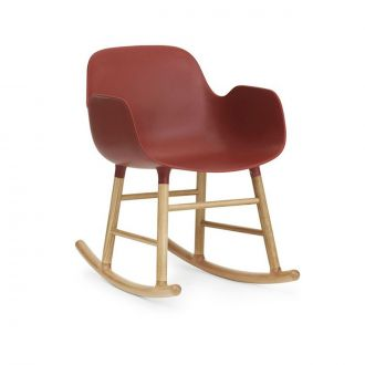 FORM ROCKING ARMCHAIR PIEDS EN CHàNE Rouge