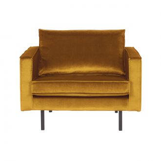 Fauteuil Rodeo Velours Ocre