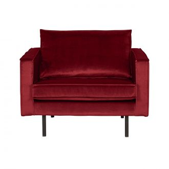 Fauteuil Rodeo Velours Rouge
