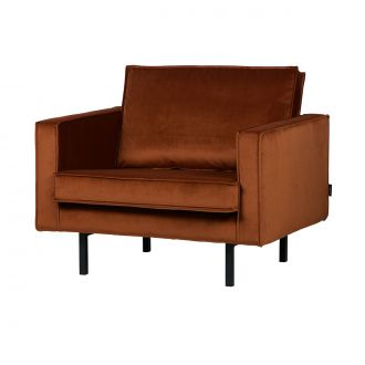 Fauteuil Rodeo Velours - Rouille