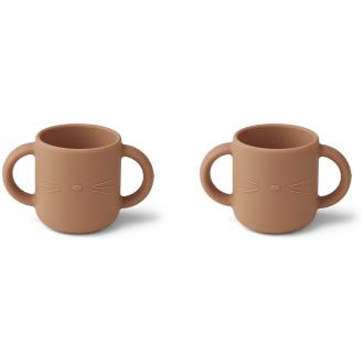 Set de 2 Tasses Gene chat Rose toscane