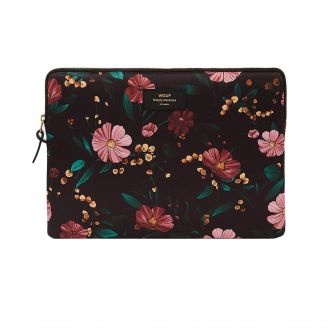 "Housse Macbook 13"" Black Flowers"