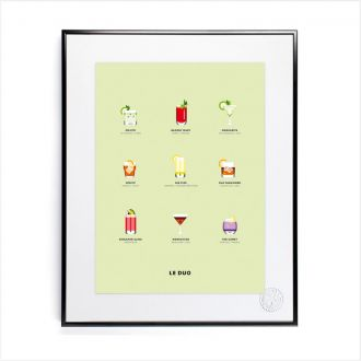 Affiche Le Duo Cocktails 40 x 50