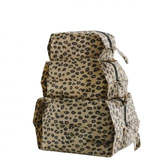 Set de 3 pochettes - Leopard Honey