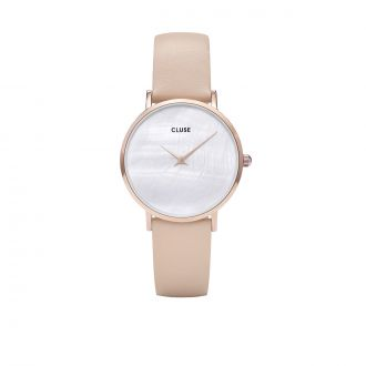 Montre Minuit Rose Gold - Blanc Perle & Nude