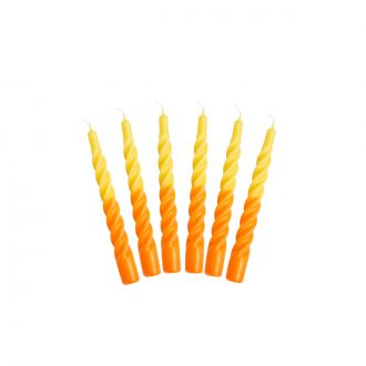 Set de 6 Bougies Twist Jaune/Orange