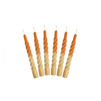 Set de 6 Bougies Twist Orange/Marron