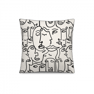 Coussin Personality Velours Blanc / Noir PM