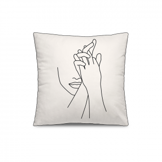 Coussin Personality Velours Blanc / Noir