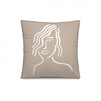 Coussin Personality Velours Rose / Blanc
