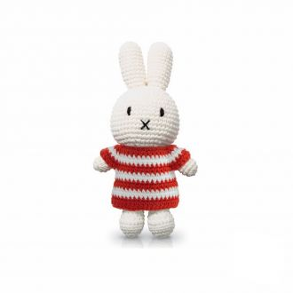 Peluche lapin rayures rouge