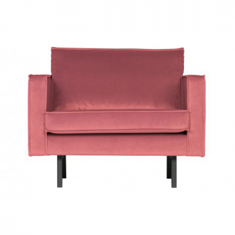 Fauteuil Rodeo Velours - Rose
