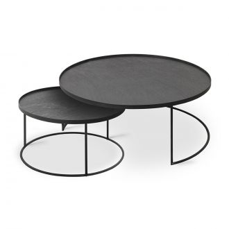 Set de 2 tables basses rondes Noir