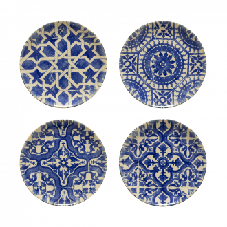 Set de 4 Assiettes Bleu Carreaux de ciment