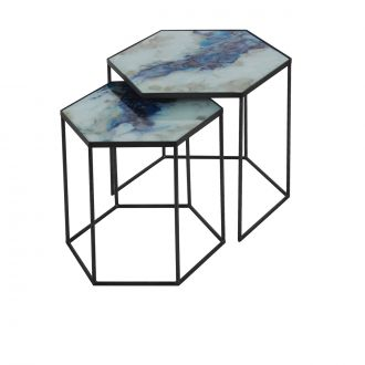 Set de 2 tables d'appoint Organic Cobalt