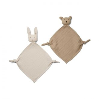 Set de 2 Doudous Yoko Mini Sandy/Gris