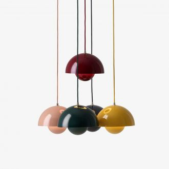 Suspension Flowerpot Rose by Verner Panton