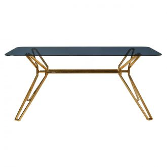 Table rectangulaire Gold & Glass