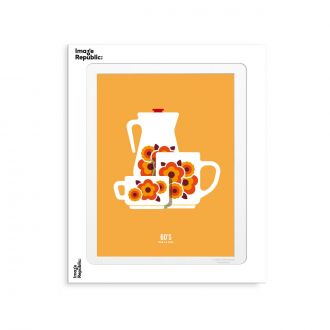 Affiche Le Duo Tasse 2 Orange 30x40cm