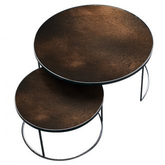 Set de 2 tables gigognes Antique bronze