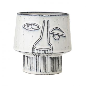 Pot Visage Abstract Gris