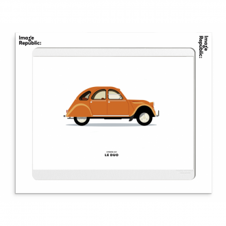 Affiche Le duo voiture citroen 2cv orange 30x40cm