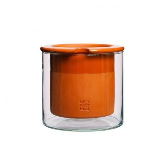 Pot Wet Terracotta/Verre M